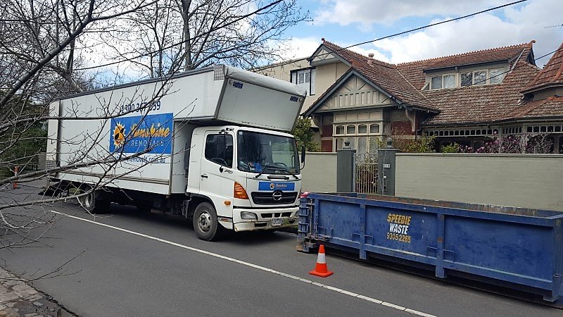 Truck parked outside for home removalist.