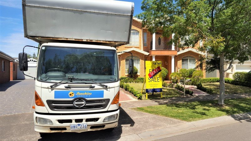 Maribyrnong furniture removalists Truck outside a house/
