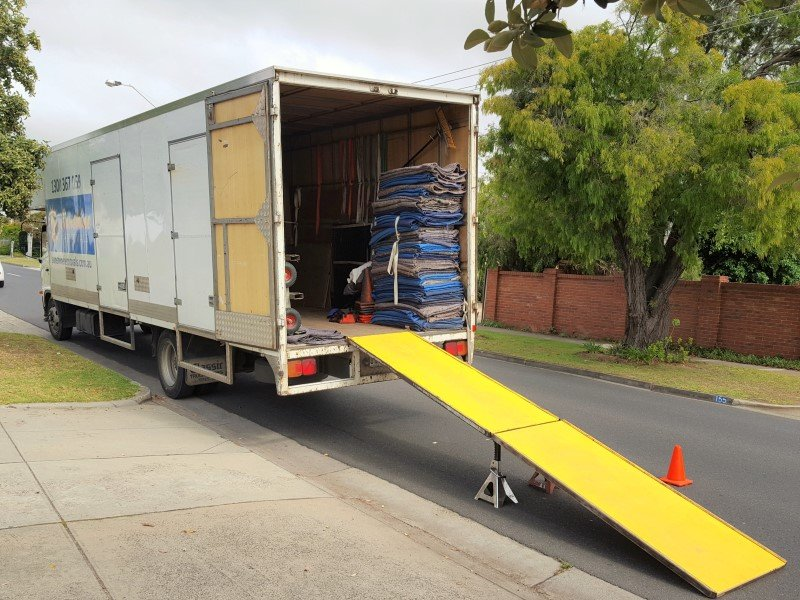Melbourne Furniture movers truck and ramp.