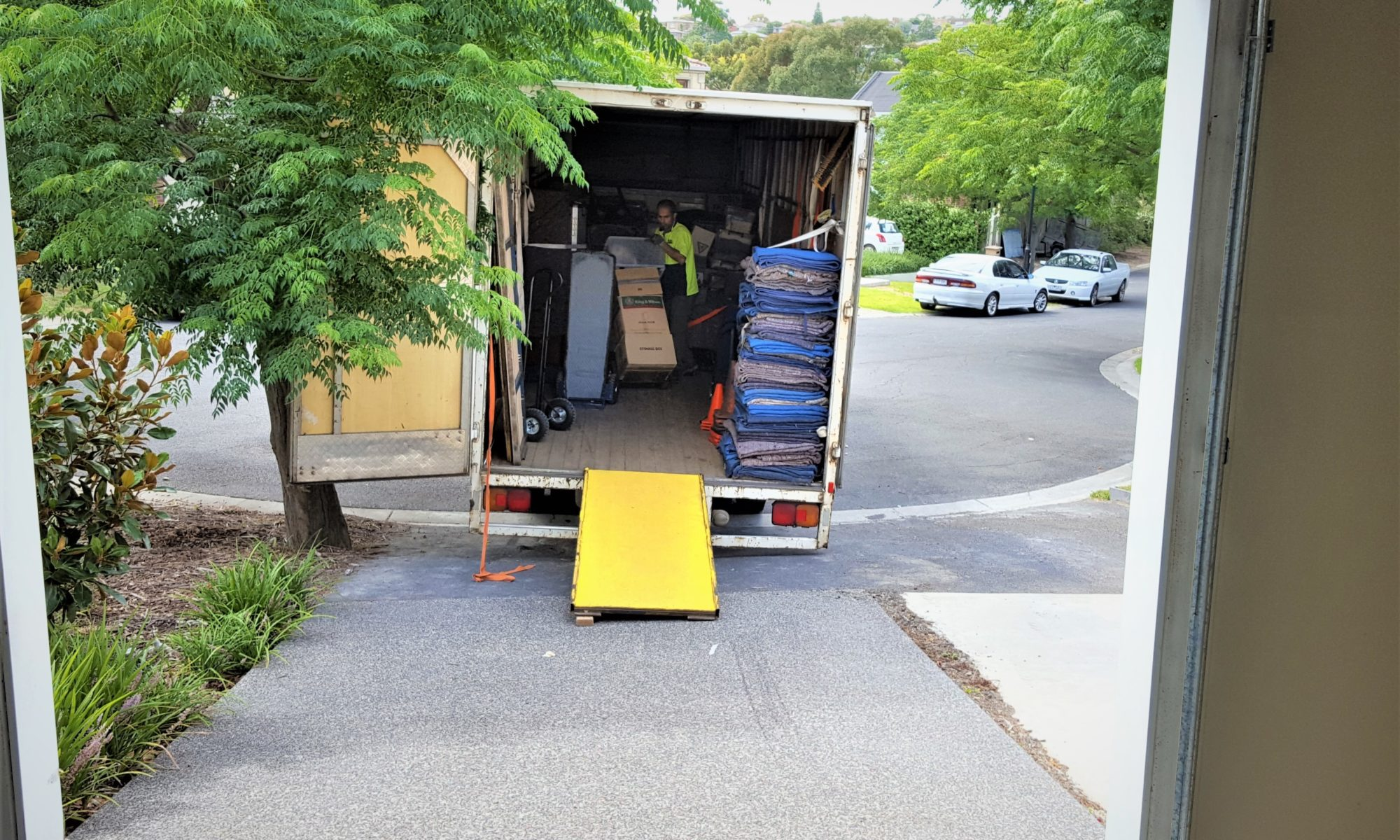 Moving furniture outer western suburbs truck unloading.