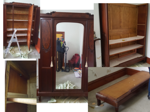 Melbourne Antique Furniture Removalsdismantling and assembling a large antique wardrobe.