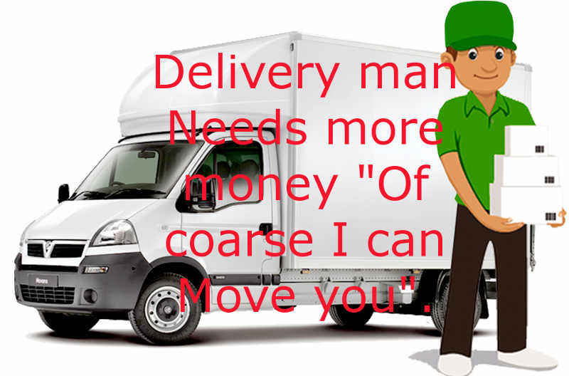 A cartoon of man with a van removals Delivering with messaghe