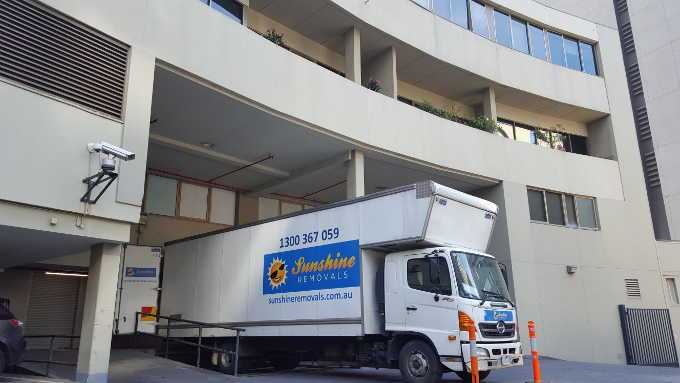 Sunshine doing a office relocation with the truck in a loading dock.