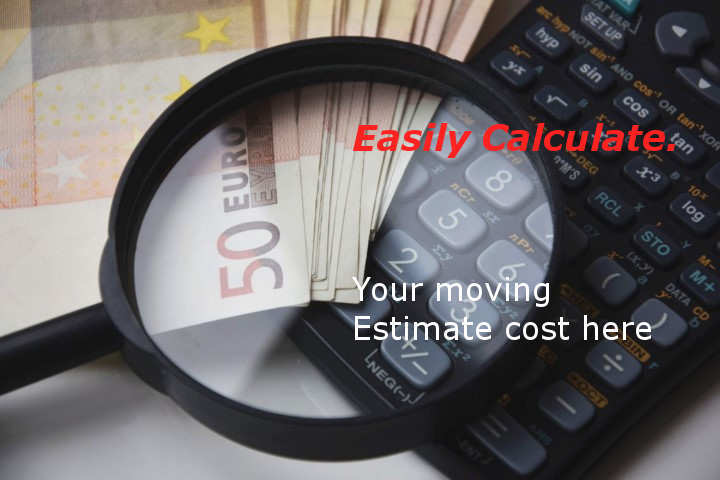 How to Estimate cost of furniture removalist services, Money Looking Glass and Calculator.