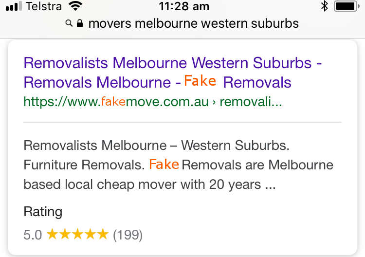 fake removalists reviews on search results with proof.