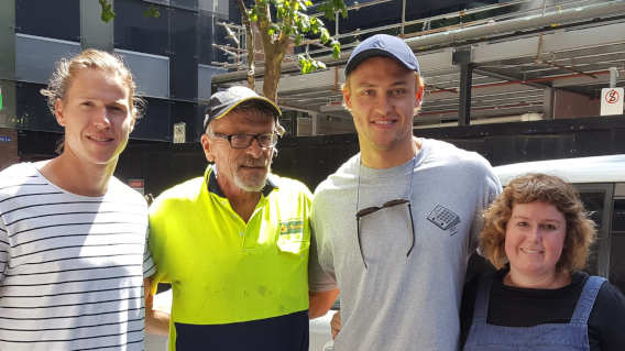 Client Collingwood FC Tom Langdon with Darcy More, Mike and Artist Olivia Langdon