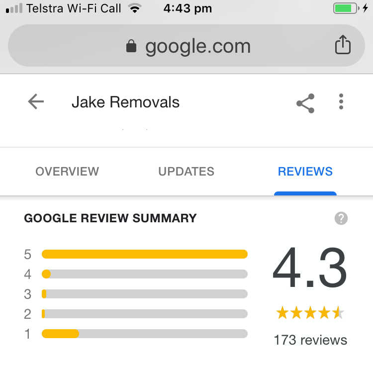 Google Reviews for furniture removals service